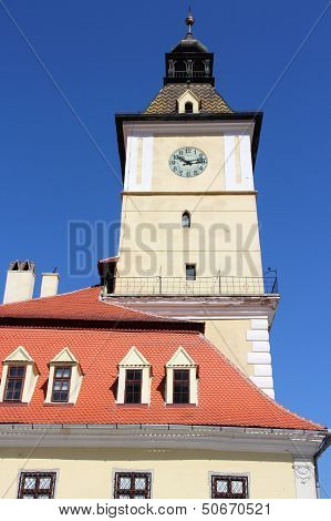 Brasov town in Transylvania Romania. Old Town Hall building at famous Sfatului square. poster