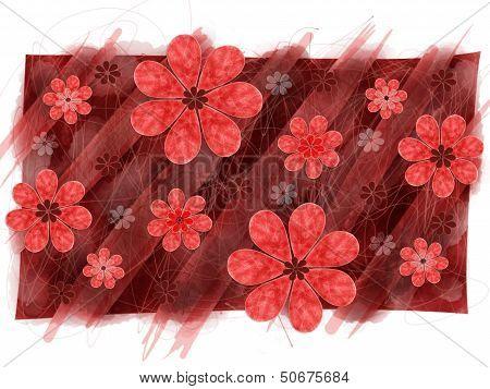 Red Flower Pattern Graphic Element