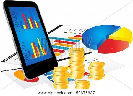 Business Concept With Smartphone And Graphs