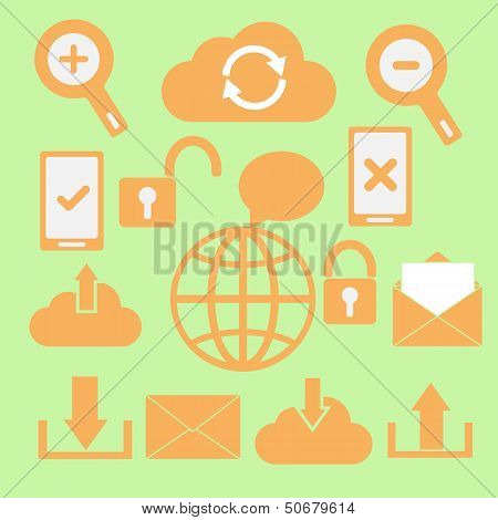 Set Of Communication Icons On Green Background