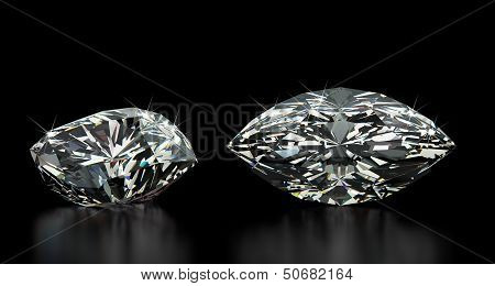 Marquise Cut Diamond on black (computer generated image) poster