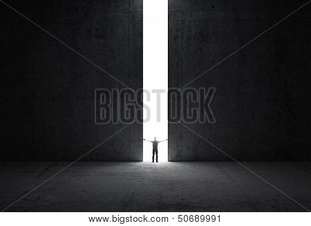 Dark abstract concrete interior. Man stands in the light of opening. poster