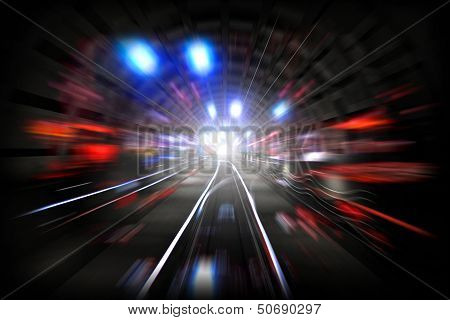 Illustration with subway tunnel with lights and motion blur poster