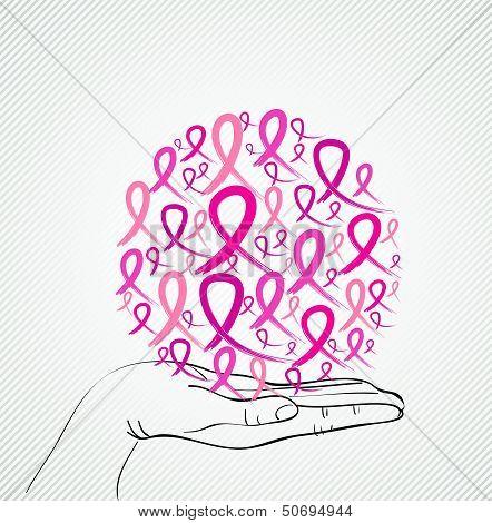 Breast Cancer Awareness Human Hand Ribbon Symbol Eps10 File.