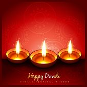 beautiful stylish diwali diya on red background poster