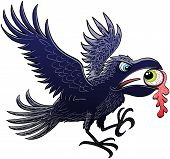 Evil raven extending and flapping its wings for landing after having ripped and stolen a green eye with its powerful beak poster