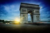 Arc de Triomphe at night. Beautiful sunset over Place de l'Etoile Paris poster