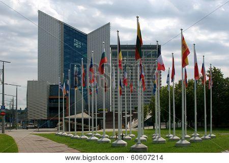 Vilnius City Skyscrapers And European Union Flags.
