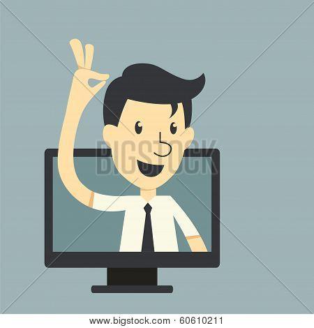 Businessman In Monitor Screen