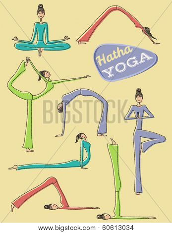 Yoga Poses - Set of hand drawn yoga poses and asanas, including Downward Facing Dog pose, Cobra, Tree, Bridge, Plow, Shoulderstand, etc