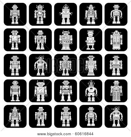 Vintage Tin Toy Robot Icons in Black & White