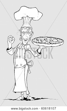 Chef with pizza in his hand. Freehand drawing