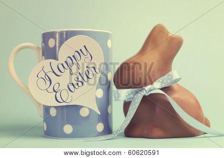 Retro Vintage Happy Easter Chocolate Bunny With Coffee Mug