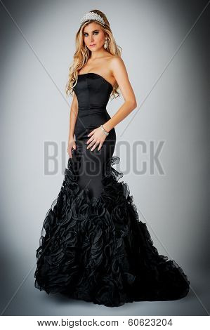 Woman In Black Ball Gown Dress.
