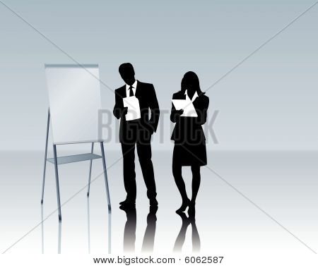 business people with a flipchart