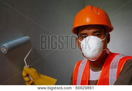 Painter Worker Wearing  Safety Work On Job