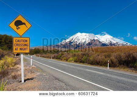 Kiwi sign near the road leading to the volcano Mt. Ruapehu, national park Tongariro. New Zealand.   poster