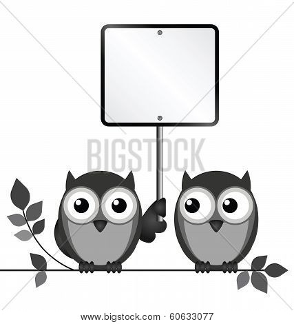 Owls Blank Sign