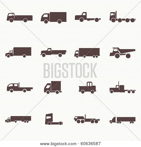 Transport truck icons. Vector illustration. Vector silhouettes of vehicles. poster