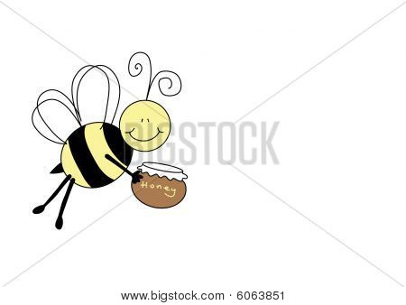 Nice Bee Holding Pot Of Honey