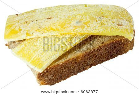 Spoiled Moldy Inedible Sandwich With Cheese On White Background