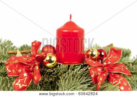 Christmas Piece Ribbons Balls Candle
