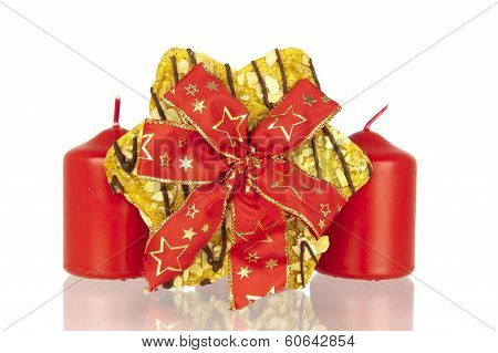 Cookie With Ribbon And Candles