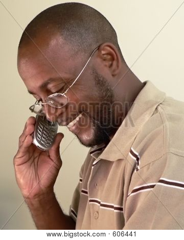 African American Man On Cell Phone B