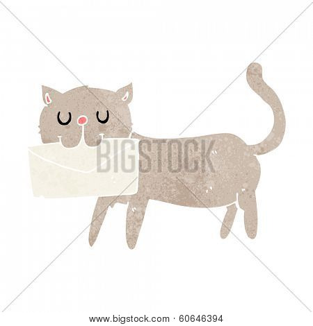 poster of cartoon cat carrying letter