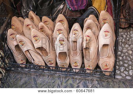 Moorish Slipper In A Shop In The Street Of The Tearooms, Typical Footwear In North Africa, Granada,