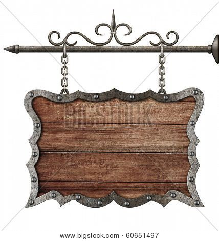 medieval wooden sign board hanging on chains isolated on white