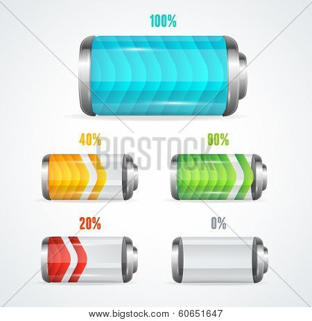 Vector illustration of Battery full level indicator poster
