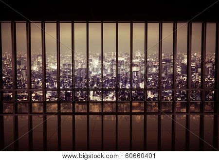View of a night city