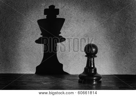 Chess Pawn Standing In A Spotlight That Make A Shadow  Actistic Conversion