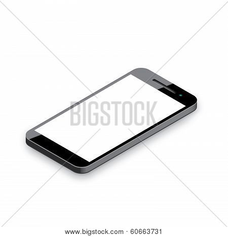 Mobile phone isolated on white. Realistic 3d smartphone vector illustration.