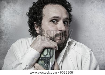 Save, stingy businessman, saving money, man in white shirt with funny expressions