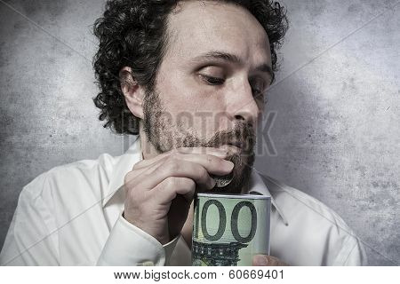 stingy businessman, saving money, man in white shirt with funny expressions