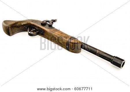 Old Wooden Gun Isolated