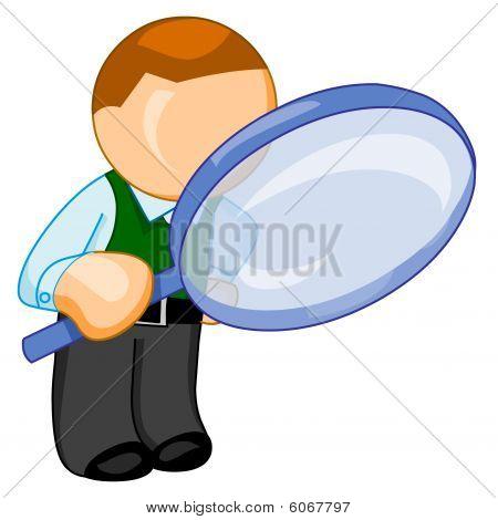 Man met grote Vergrootglas zoekt iets