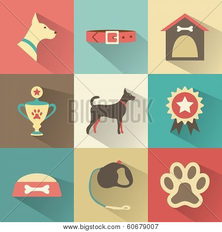 Retro dog icons set. Vector illustration for web, mobile