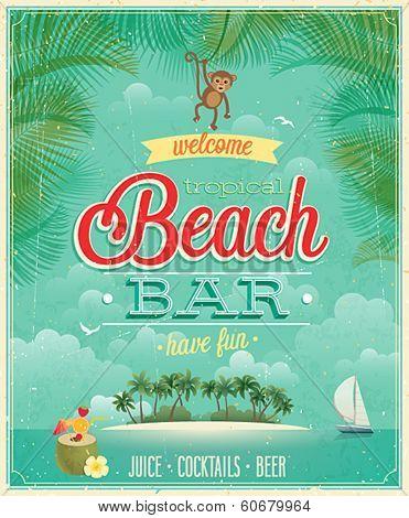 Vintage Beach Bar poster. Vector background.