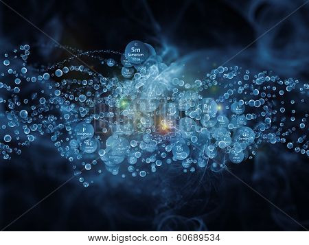 Molecular Dreams series. Creative arrangement of conceptual atoms molecules and fractal elements to act as complimentary graphic for subject of biology chemistry technology science and education poster