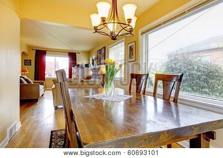 Cozy Small Dining Room. View Of The Living Room