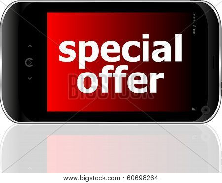 Digital Smartphone With Special Offer Words, Business Concept