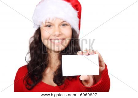Santa Girl Holding Business Card
