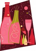 New Years bubbly champagne and champagne glasses poster