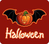 halloween's drawing - a pumpkin head of Jack-O-Lantern with bat's wings poster