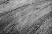 Abstract road background with tires tracks on asphalt poster