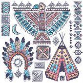 Vintage Tribal native American set of symbols poster