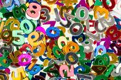 close up of small color numbers confetti background or backdrop poster